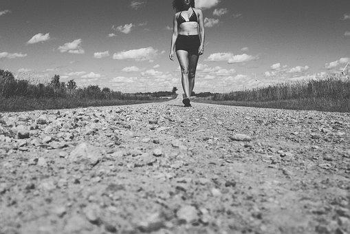 Dirt, Road, Rocks, Girl, Woman, People, Bikini, Rural