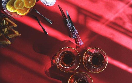 Red, Tablecloth, Drinks, Shots, Dessert, Orange, Slices