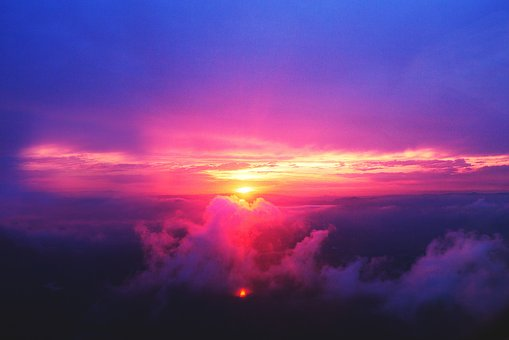 Sunset, Dusk, Sky, Purple, Pink, Clouds, Aerial, View