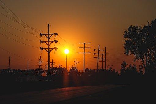 Sunset, Dusk, Power Lines, Road, Street, Rural, Trees