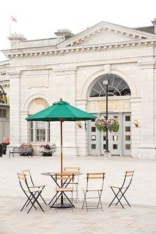Restaurant, Patio, Terrace, Tables, Chairs, Umbrella