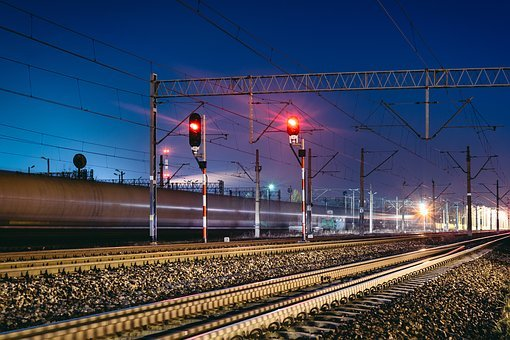 Railway, Railroad, Train Tracks, Transportation, Lights