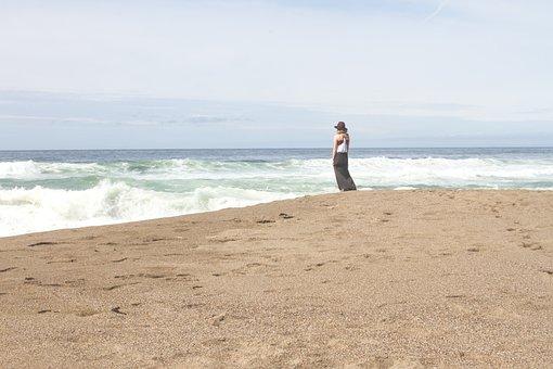Girl, Woman, Beach, Sand, Ocean, Sea, Waves, Water