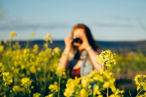 Yellow, Flowers, Garden, Nature, Girl, Woman