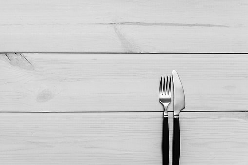 Kitchen, Table, Wood, Fork, Knife, Cutlery, Utensils