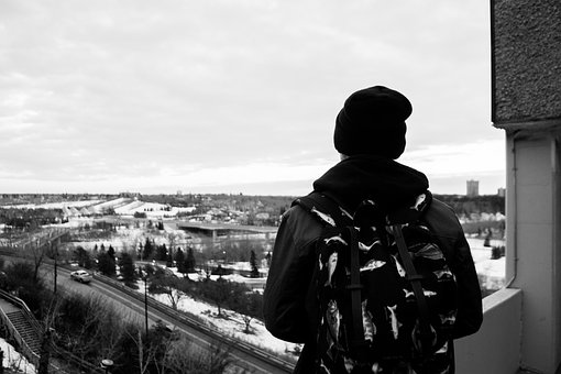 Guy, Backpack, Hat, Toque, Beanie, City, View