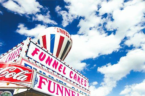 Funnel Cakes, Dessert, Blue, Sky, Blue Cake