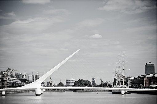 Bridge, Architecture, Water, Buildings, City, Sky