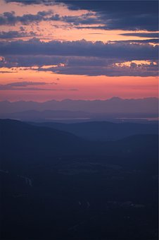 Sunset, Dusk, Sky, Pink, Clouds, Mountains
