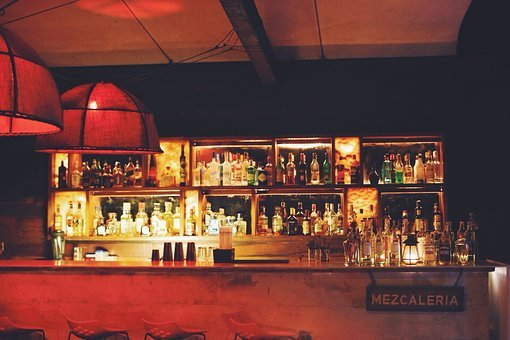 Bar, Drinks, Alcohol, Bottles, Liquor, Lights, Display