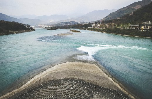 The Fish Mouth, Dujiangyan, Sichuan, China, Dams, Water