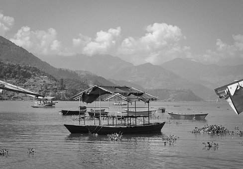 Fewa Lake, Boats, Water, Coast, Mountains, Hills