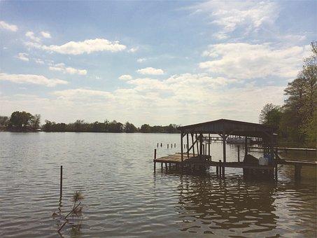Lake, Water, Dock, Cottage, Boats, Sunshine, Sunny