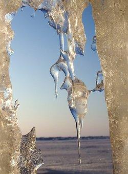 Baikal, Lake, Naples, Icicles, Ice, Weed, Winter