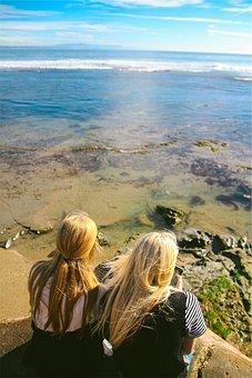 Girls, Texting, Blonde, Long Hair, People, Beach, Shore