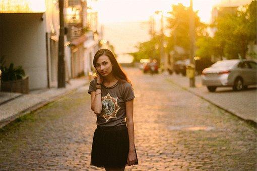 Girl, Fashion, Skirt, Tshirt, Long Hair, Brunette