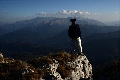 Hiking, Hiker, Mountains, Rocks, Cliffs, Peaks, Summit