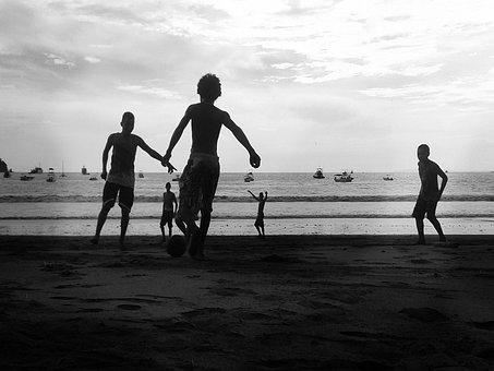 Kids, Children, Playing, Soccer, Ball, Beach, Sand