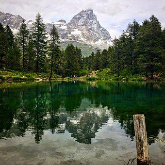 Mountain, Lake, Cervinia, Valle, Reflection, Nature