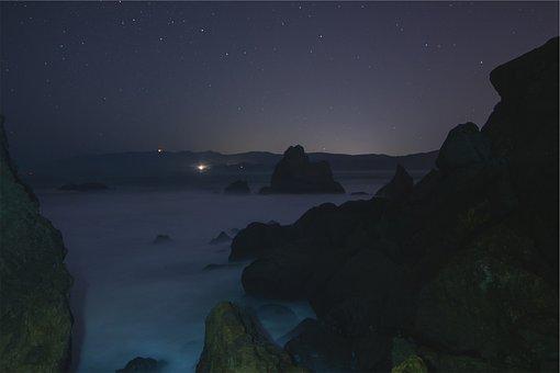 Stars, Sky, Night, Dar, Evening, Rocks, Boulders