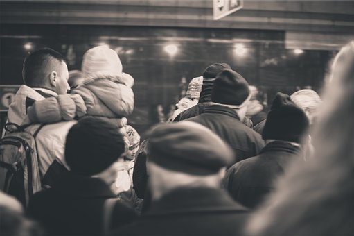 People, Crowd, Subway, Winter, Coats, Hats, Busy