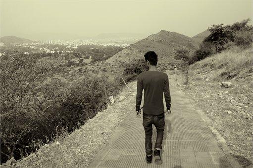 Guy, Man, Walking, Path, Jeans, Denim, Shirt, People
