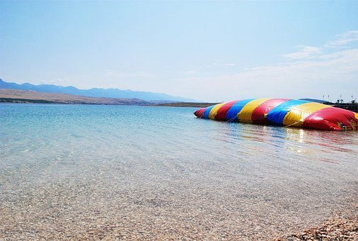 Beach, Rocks, Water, Shore, Inflatable Bouncer
