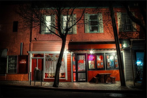 Restaurant, Building, Windows, Open, Neon, Sign