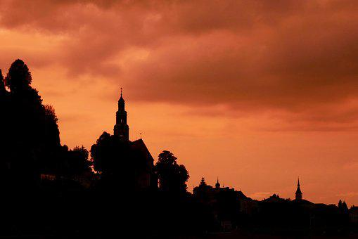 Evening, Afterglow, Church, Abendstimmung, Silhouette