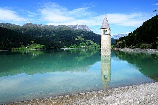 Reschensee, Tower, Church, Adige, Lake, Italy