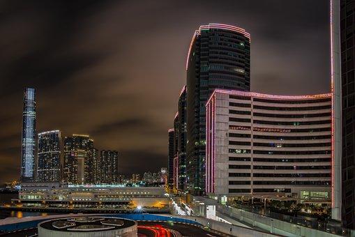 Hong Kong, At Night, Skyline, Skyscraper, City View
