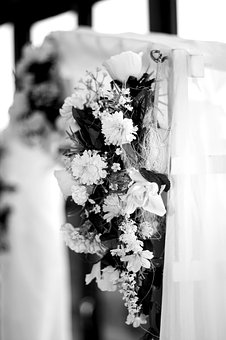 Wedding, Bouquet, Black, White, Bride, Marriage, Bridal
