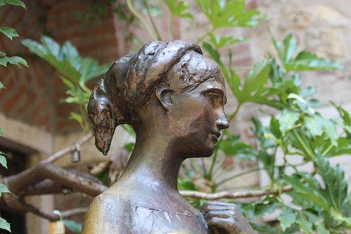 Statue, Head, Bust, Girl, Bronze