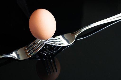 Egg, Forks, Boiled, Shell, Silver, Shiny, Black, Food