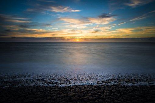 Sunset, Long Exposure, Sea, Evening, Water, Beach, Mood