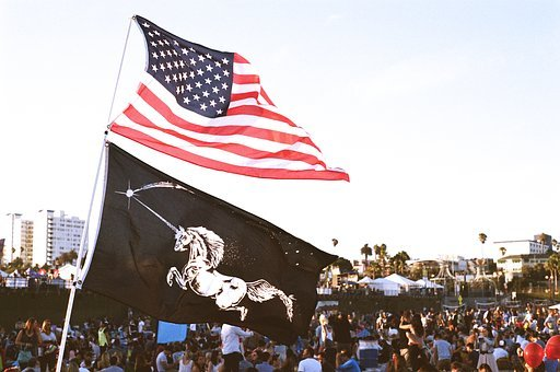 Flags, Usa, United States, Unicorns, Crowded, Festival