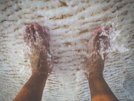 Feet, Foot, Toes, Water, Wash