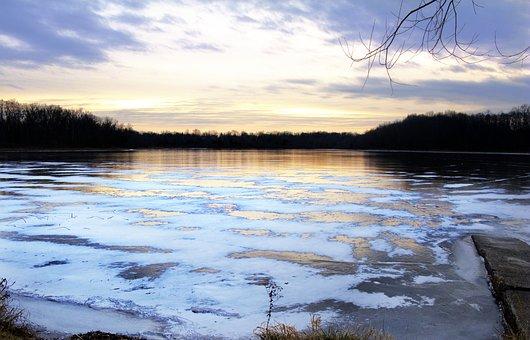 Winter, Sunset, Landscape, Forest, Park, Sunlight