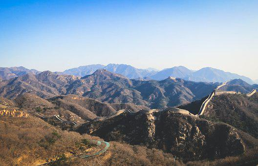 Great Wall Of China, Mountains, Hills, Steps