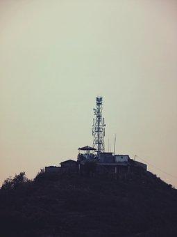 Tower, Satelites, Sky, Hill, Houses, Huts, Shacks