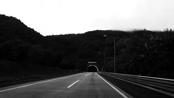 Tunnel, Photo, Black And White, Nature, Landscape