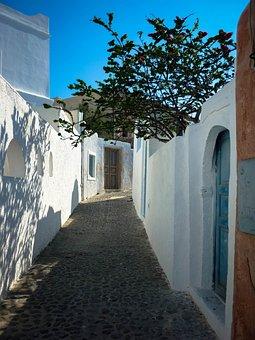 Oia, Walkway, Santorini, Greece, Cobblestone, Path