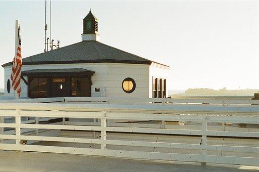 Malibu, Pier, Roof, Shingles, Flag, Usa, United States