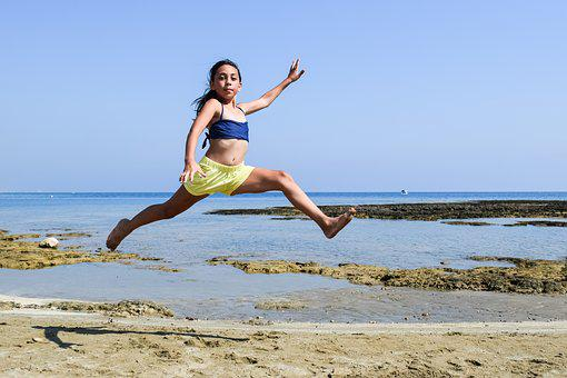 Girl, Sea, Beach, Summer, Jumping, Running, Fun, Happy