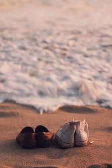 Shoes, Sneakers, Converse, Beach, Sand, Waves, Water