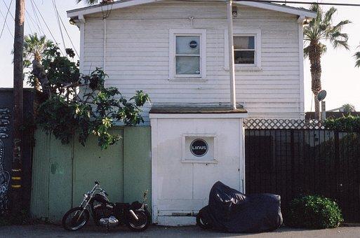 Linus, Bike, Motorcycle, House, Palm Trees, Siding