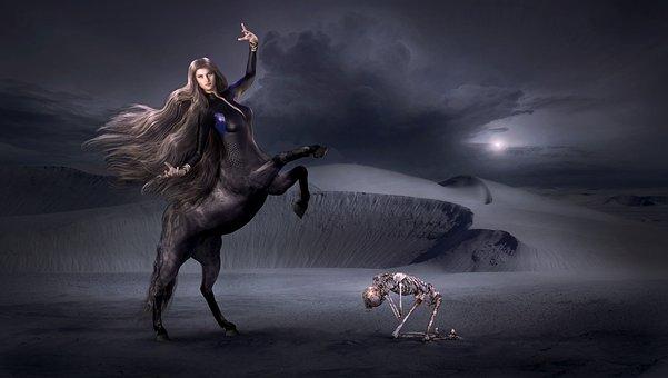 Fantasy, Centaur, Dark, Skeleton, Mystical, Gloomy