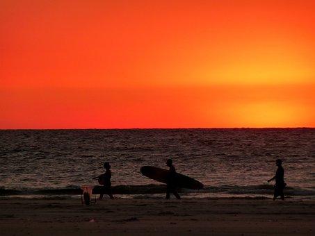 Sunset, Red, Sky, Beach, Sand, Ocean, Water, Surfing