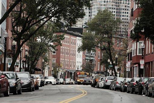 Boston, City, Streets, Roads, Cars, School Bus