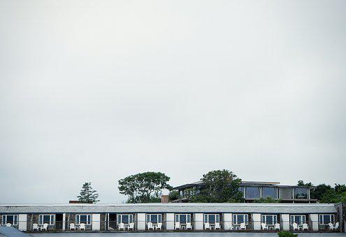 Motel, Beach, Water, Chairs, Railing, Trees